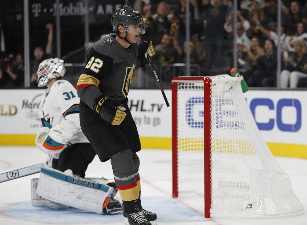 Vegas Golden Knights left wing Tomas Nosek celebrates after scoring against San Jose Sharks goaltender Martin Jones during the second period of a preseason NHL hockey game, Sunday, Sept. 30, 2018, ...