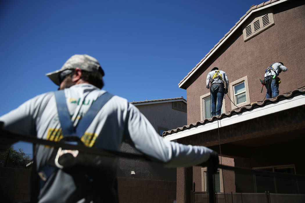 Sol-Up employees prepare the roof for a residential solar panel installation in Henderson, Thursday, Oct. 18, 2018. Erik Verduzco Las Vegas Review-Journal @Erik_Verduzco