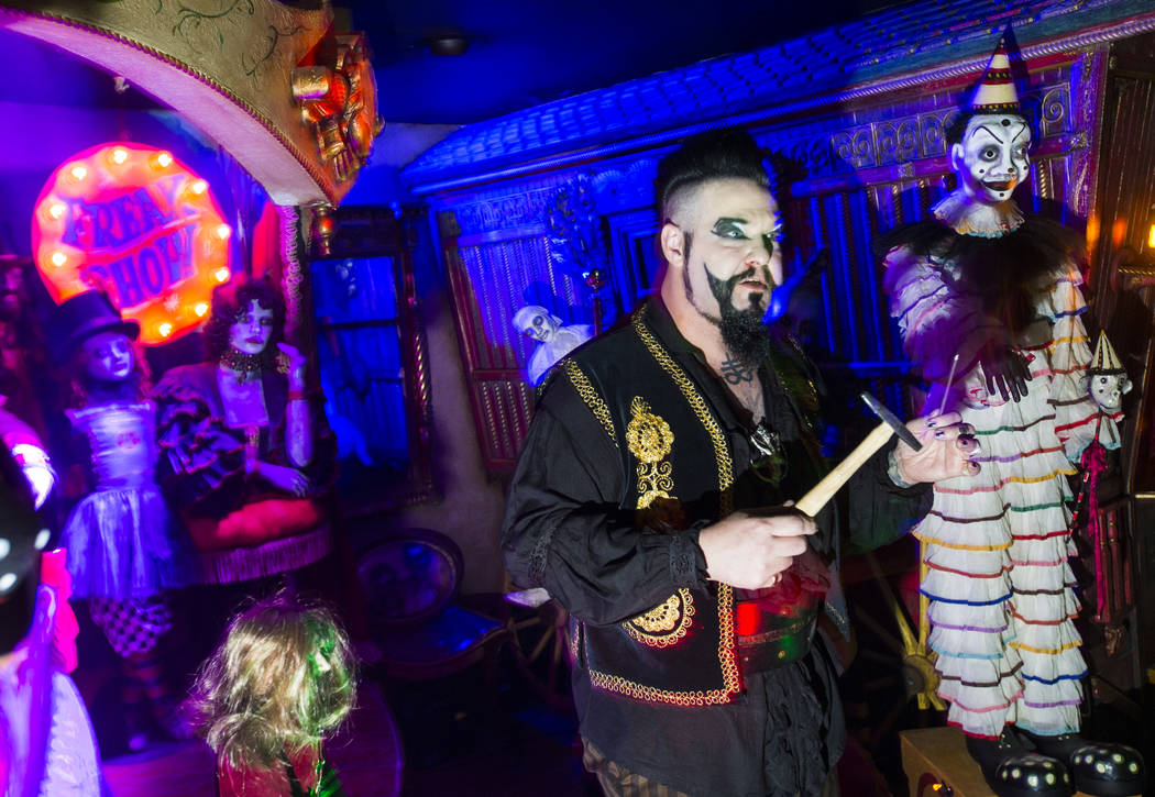 John Shaw prepares to hammer a nail into his nose while performing for guests at Zak Bagans' Haunted Museum in Las Vegas on Saturday, Aug. 18, 2018. Chase Stevens Las Vegas Review-Journal @cssteve ...