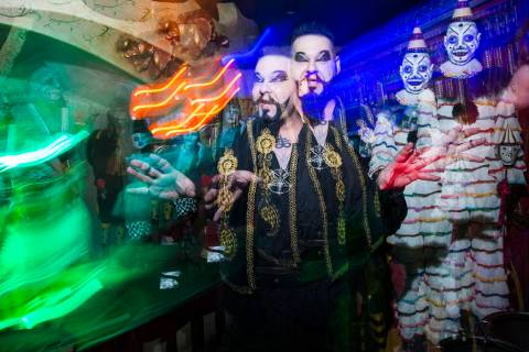 John Shaw performs for guests at Zak Bagans' Haunted Museum in Las Vegas on Saturday, Aug. 18, ...