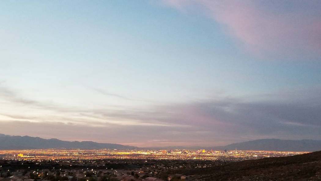 The Las Vegas Valley is seen at sunset from along the Anthem East trail in Henderson's southern edge in this 2018 photo. (Natalie Burt)