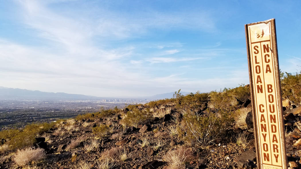 A sign in Sloan Canyon National Conservation Area south of Henderson is seen in this 2018 photo. (Natalie Burt)
