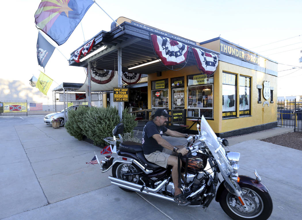 Jack Alexander, proprietor of Thunder-Rode Motorcycle Accessories in Kingman, Ariz., prepares to close his store Tuesday, Sept. 11, 2018. K.M. Cannon Las Vegas Review-Journal @KMCannonPhoto