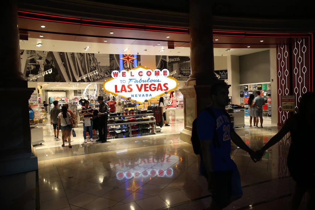 The Welcome to Las Vegas gift shop at The Forum Shops in Las Vegas, Wednesday, July 18, 2018. Erik Verduzco Las Vegas Review-Journal @Erik_Verduzco