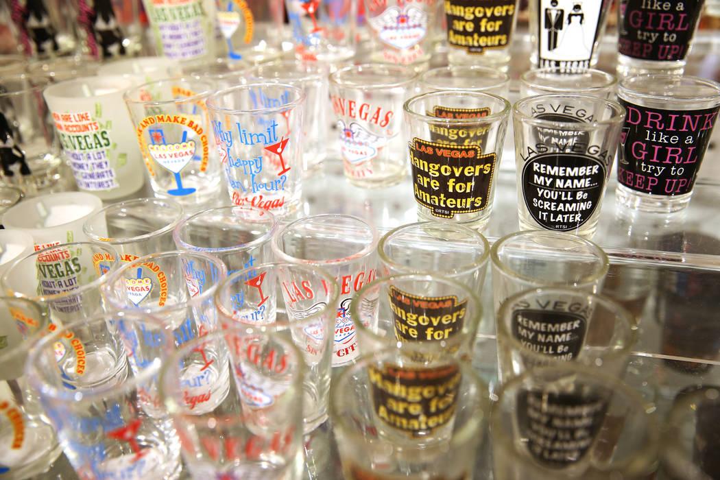 Shot glasses at the Welcome to Las Vegas gift shop at The Forum Shops in Las Vegas, Wednesday, July 18, 2018. Erik Verduzco Las Vegas Review-Journal @Erik_Verduzco