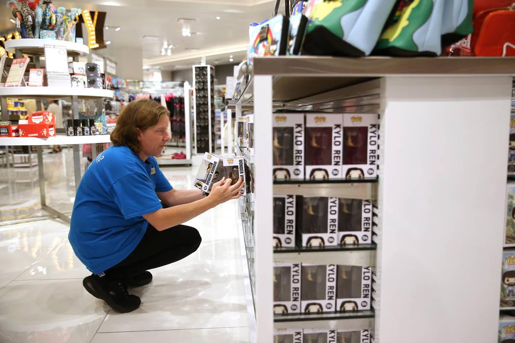 Supervisor Ginny Rogers organizes toys at the Welcome to Las Vegas gift shop at The Forum Shops in Las Vegas, Wednesday, July 18, 2018. Erik Verduzco Las Vegas Review-Journal @Erik_Verduzco