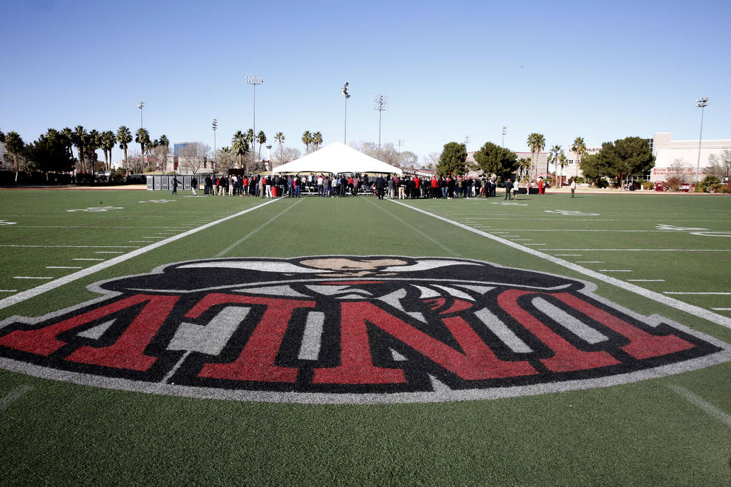 People attend the groundbreaking ceremony for the new Fertitta Football Complex on Tuesday, Jan. 23, 2018, at UNLV in Las Vegas. (Bizuayehu Tesfaye/Las Vegas Review-Journal) @bizutesfaye