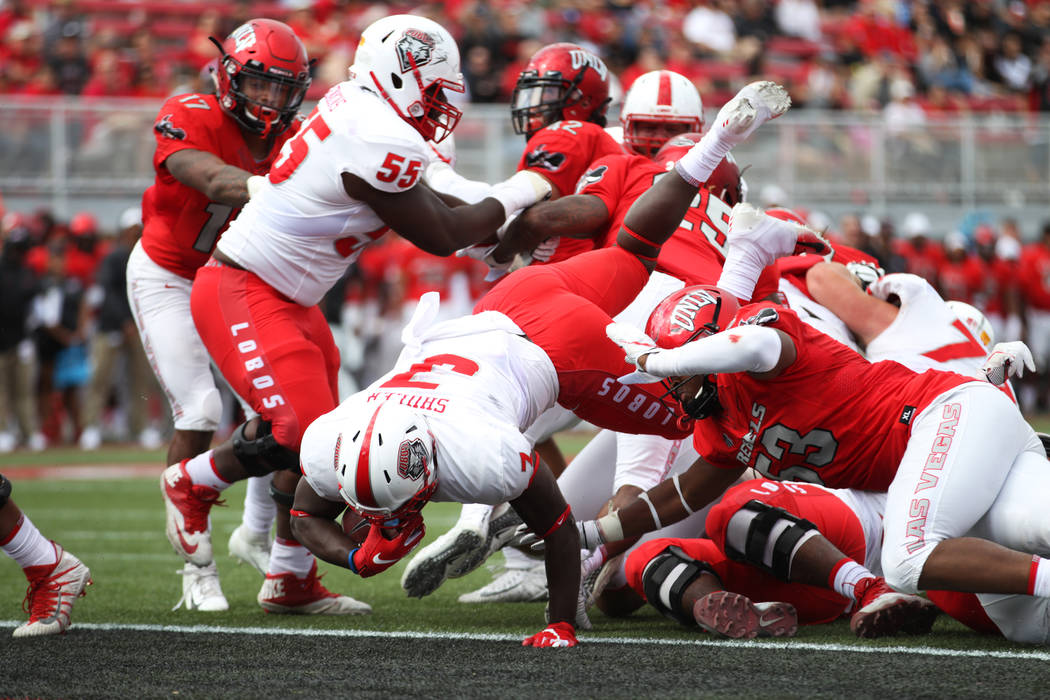New Mexico Lobos running back Zahneer Shuler (3) runs for a touchdown during the second quarter against the UNLV Rebels at Sam Boyd Stadium in Las Vegas, Saturday, Oct. 6, 2018. Erik Verduzco Las ...