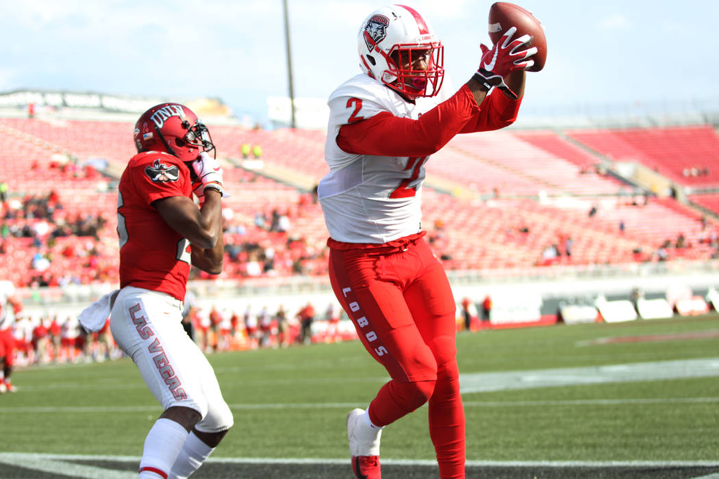 New Mexico Lobos wide receiver Delane Hart-Johnson (2) makes a catch for a touchdown against UNLV Rebels in the fourth quarter at Sam Boyd Stadium in Las Vegas, Saturday, Oct. 6, 2018. New Mexico ...