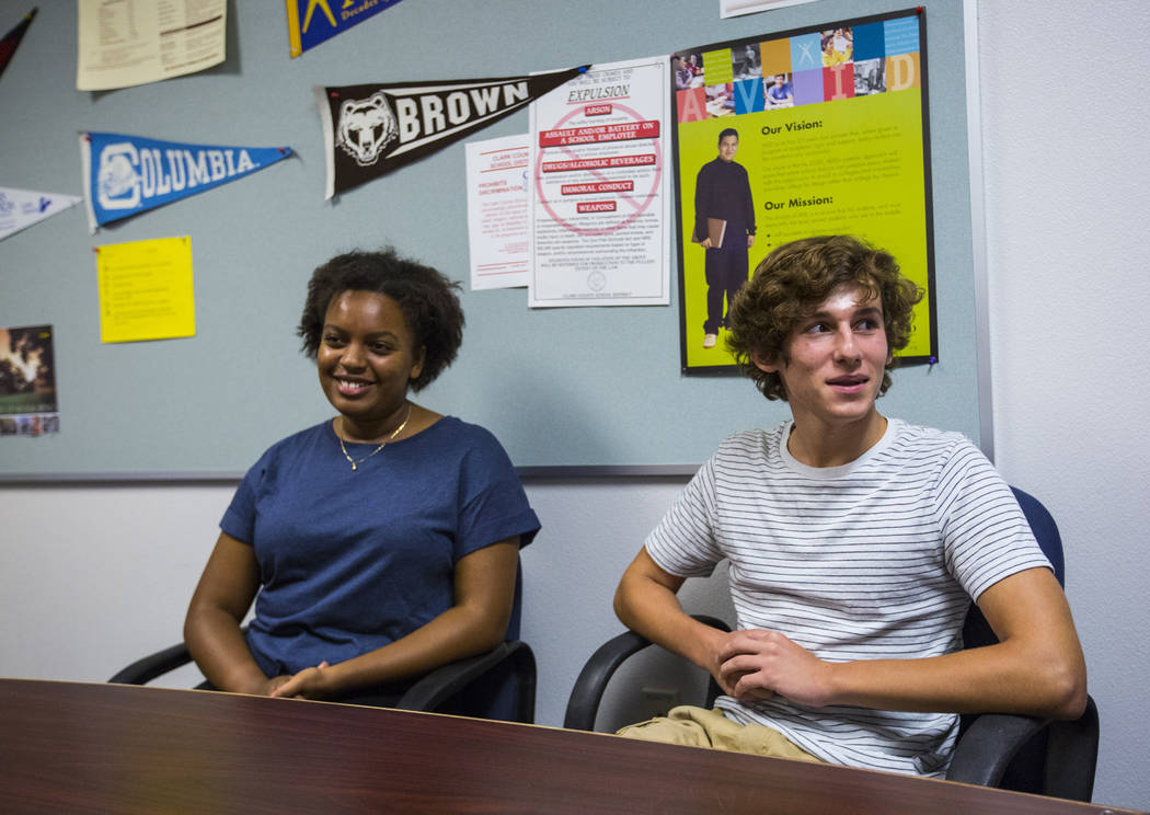 Juniors Dagemawit Kebede, left, and Liam Mullen talk about the grading system at Spring Valley High School in Las Vegas on Wednesday, Aug. 22, 2018. Chase Stevens Las Vegas Review-Journal @cssteve ...