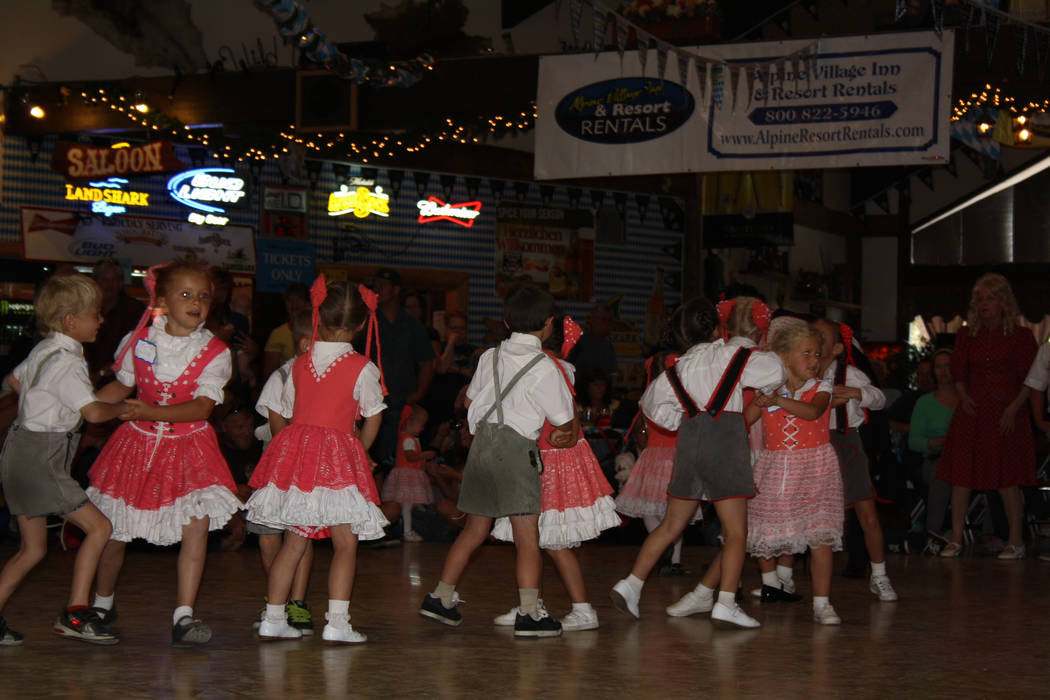 The Big Bear Lake Oktoberfest celebration includes plenty of kid-friendly activities, including dancing, contests, face painting and bounce houses. (Deborah Wall/Las Vegas Review-Journal)