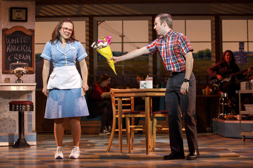 Lenne Klingaman and Jeremy Morse in the National Tour of WAITRESS Credit Joan Marcus 0037r