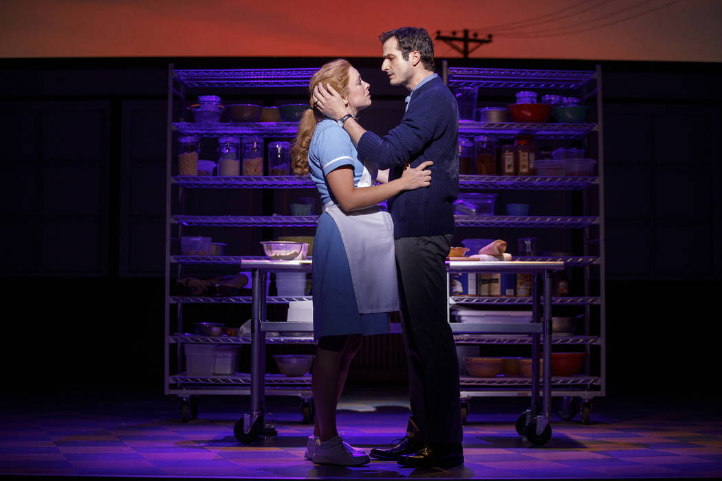 Bryan Fenkart and Desi Oakley in the National Tour of WAITRESS 2 Credit Joan Marcus 0063r
