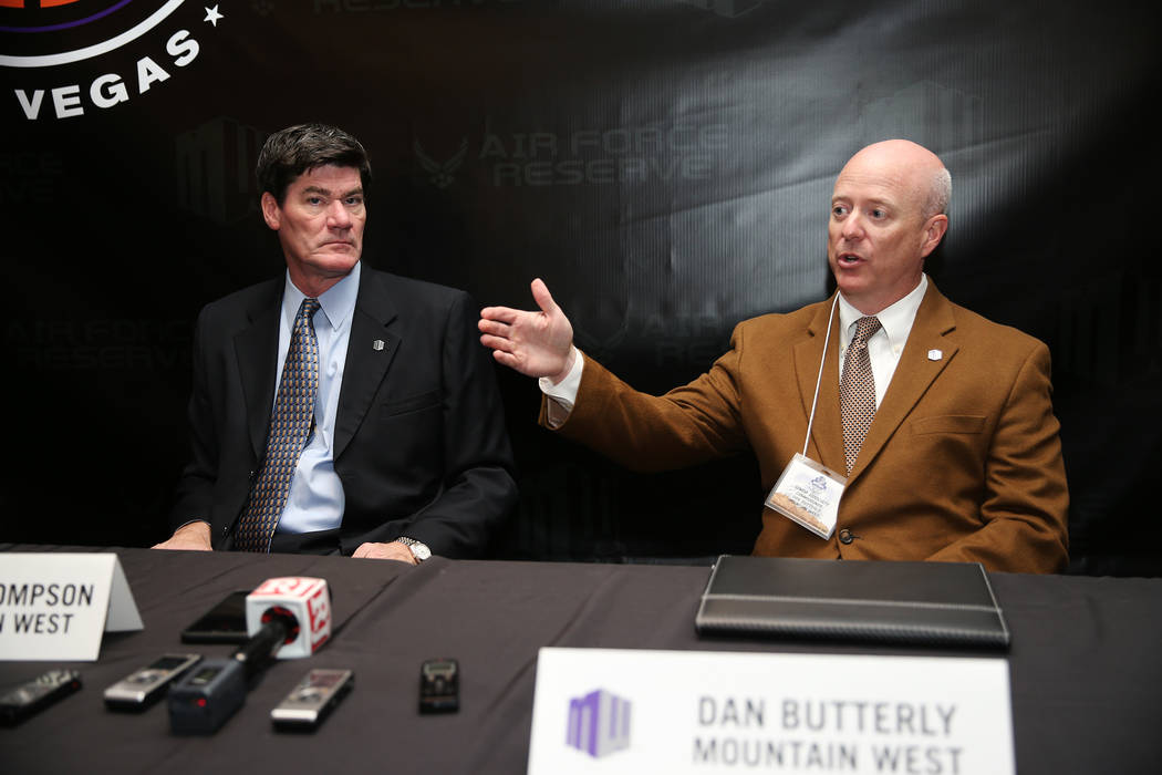 Senior Associate Commissioner Dan Butterfly, right, with Commissioner Craig Thompson, speaks during the Mountain West Conference Media Summit at The Cosmopolitan of Las Vegas, Tuesday, Oct. 16, 20 ...
