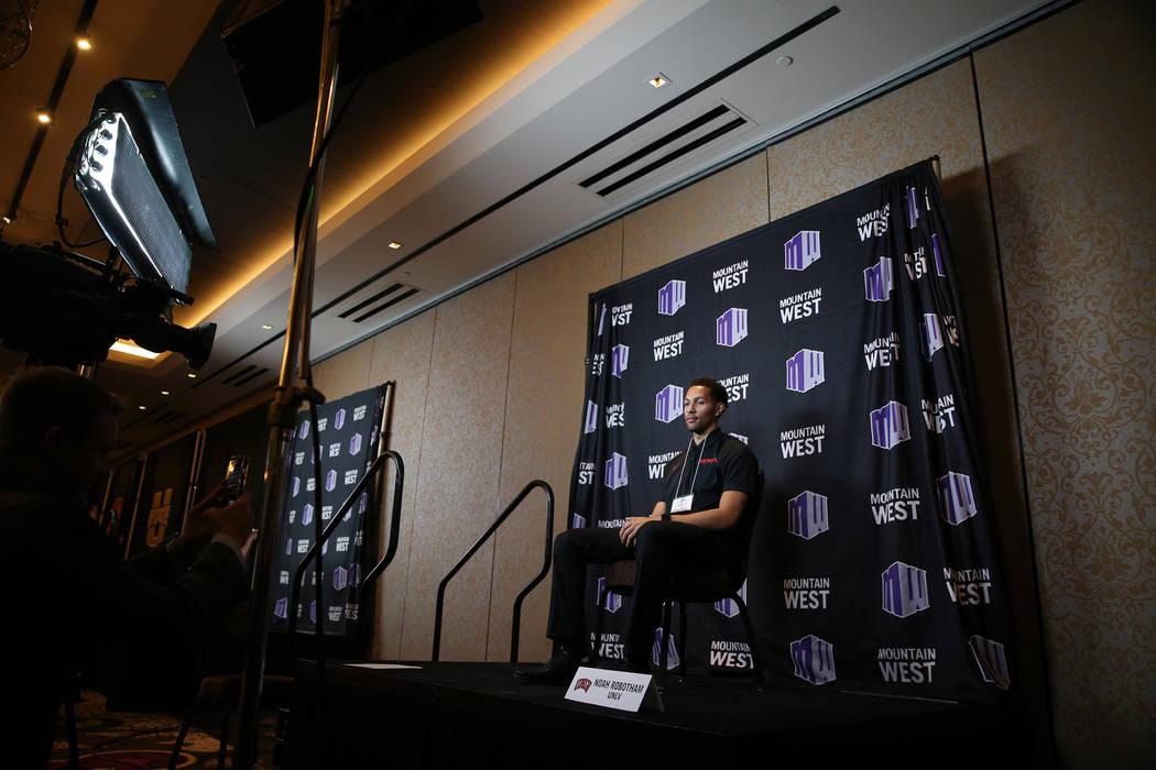 UNLV's basketball player Noah Robotham during the Mountain West Conference media day at the Cosmopolitan of Las Vegas hotel-casino in Las Vegas, Tuesday, Oct. 16, 2018. Erik Verduzco Las Vegas Rev ...