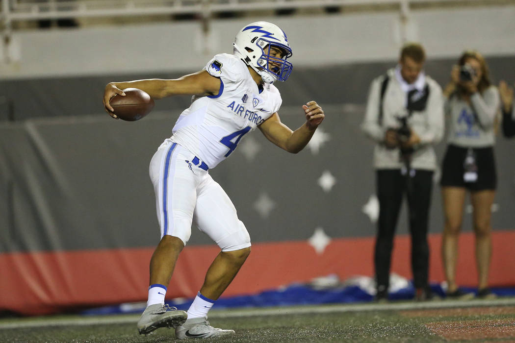 Air Force Falcons quarterback Isaiah Sanders (4) runs the ball for a touchdown in the second quarter against UNLV Rebels at Sam Boyd Stadium in Las Vegas, Friday, Oct. 19, 2018. Erik Verduzco Las ...