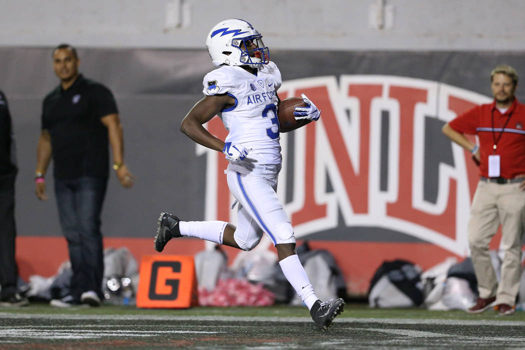 Air Force Falcons wide receiver Ronald Cleveland (3) runs for a touchdown against UNLV Rebels during the third quarter of the football game at Sam Boyd Stadium in Las Vegas, Friday, Oct. 19, 2018. ...