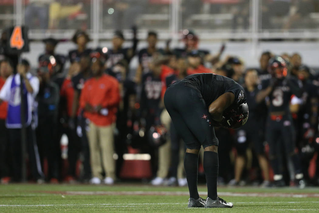 UNLV Rebels wide receiver Darren Woods Jr. (10) reacts after a missed catch in a fourth down during the fourth quarter with over a minute remaining in the football game against Air Force Falcons a ...