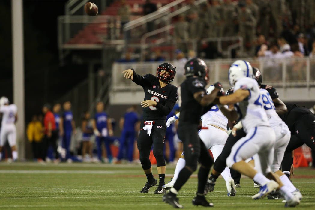 UNLV Rebels quarterback Max Gilliam (6) makes a pass against Air Force Falcons in the second quarter of their football gae at Sam Boyd Stadium in Las Vegas, Friday, Oct. 19, 2018. Erik Verduzco La ...