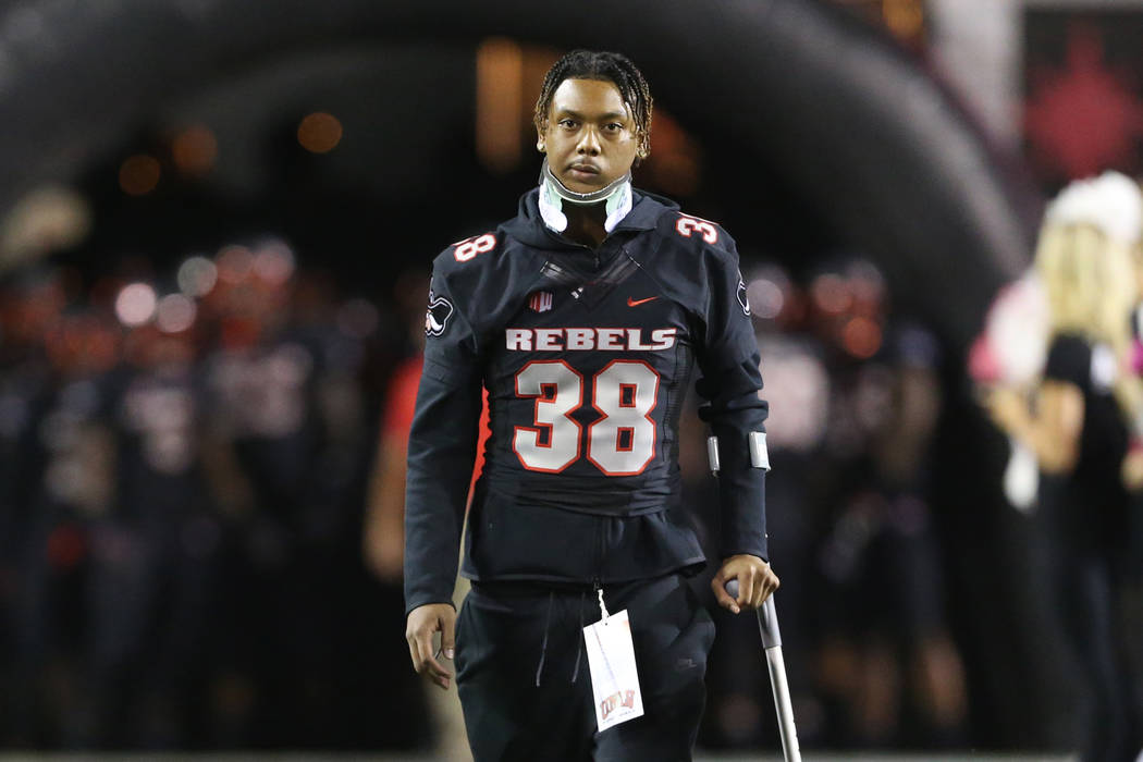UNLV Rebels defensive back Ty'Jason Roberts (38) walks to the field before a football game against Air Force Falcons at Sam Boyd Stadium in Las Vegas, Friday, Oct. 19, 2018. Erik Verduzco Las Vega ...