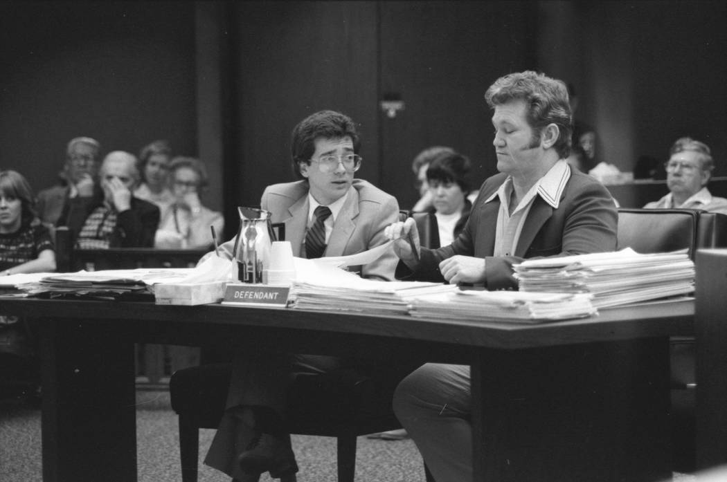 Jerald Burgess, right, seen with his attorney, Frederic Abrams, was acquitted in 1982 in the abduction of Cary Sayegh, 6, from the playground of the Albert Einstein Hebrew Day School in 1978. (Fil ...