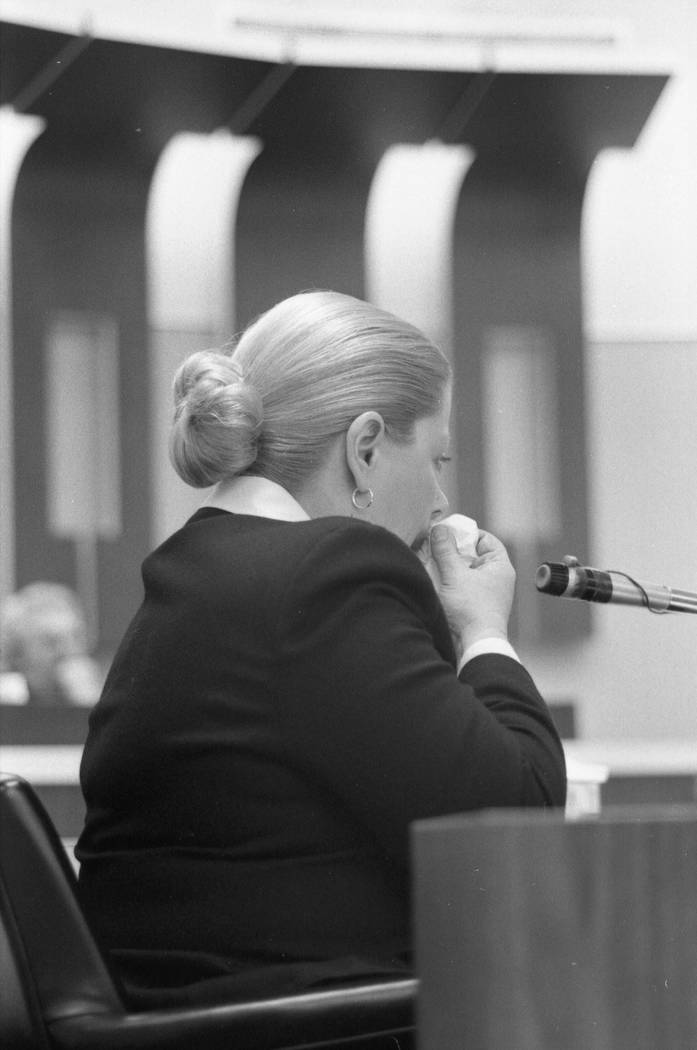 Marilyn Sayegh, mother of Cary Sayegh, testifies during a 1982 trial in the Clark County Courthouse. Jerald Burgess was charged and later acquitted in the 1978 abduction of the 6-year-old boy from ...