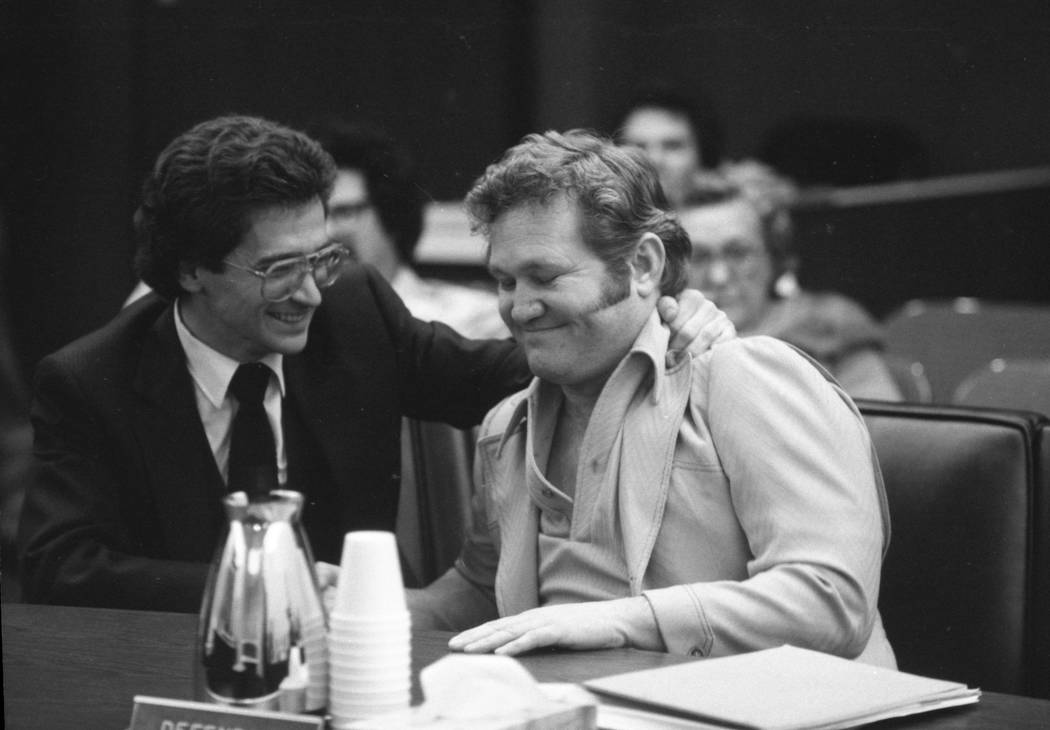 Jerald Burgess, right, seen with his attorney, Frederic Abrams, was acquitted in 1982 in the abduction of Cary Sayegh, 6, from the playground of the Albert Einstein Hebrew Day School. (File Photo)