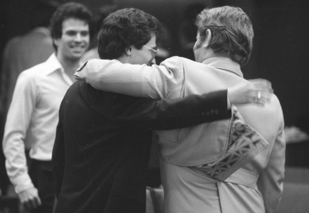 Jerald Burgess, right, gets a hug from his attorney, Frederic Abrams, after he was acquitted in 1982 in the abduction of Cary Sayegh, 6, from the playground of the Albert Einstein Hebrew Day Schoo ...