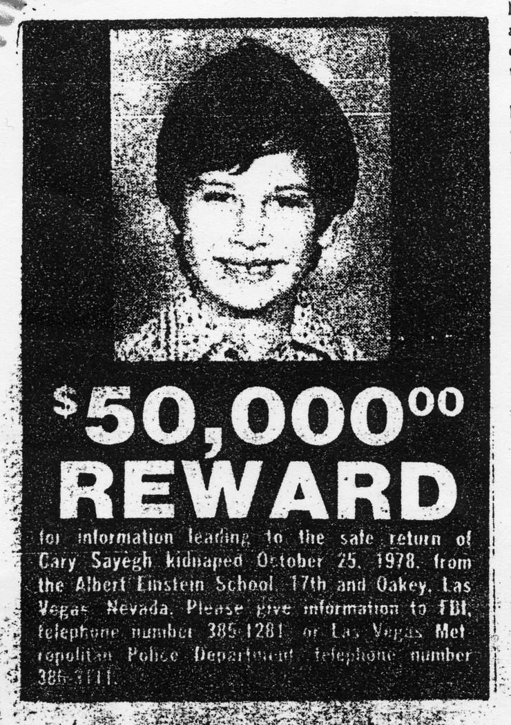 Carey Sayegh reward poster. (Las Vegas Review-Journal)