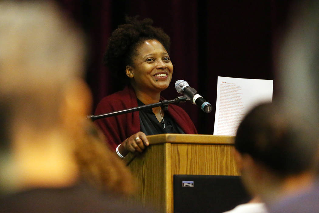 U.S. Poet Laureate Tracy K. Smith speaks during the Poetry Promise Reading Series at the Winchester Cultural Center in Las Vegas, Saturday, Sept. 29, 2018. Erik Verduzco Las Vegas Review-Journal @ ...