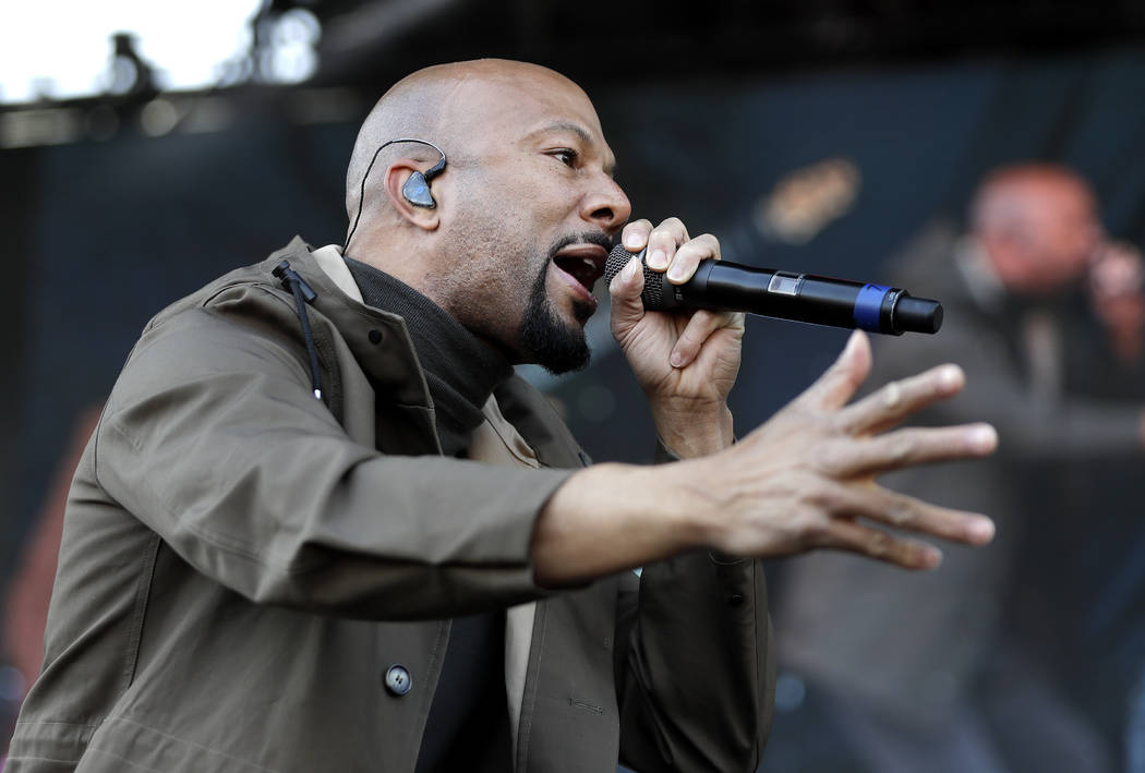 Rapper and actor Common performs at a rally commemorating the 50th anniversary of the assassination of Rev. Martin Luther King Jr. Wednesday, April 4, 2018, in Memphis, Tenn. King was assassinated ...