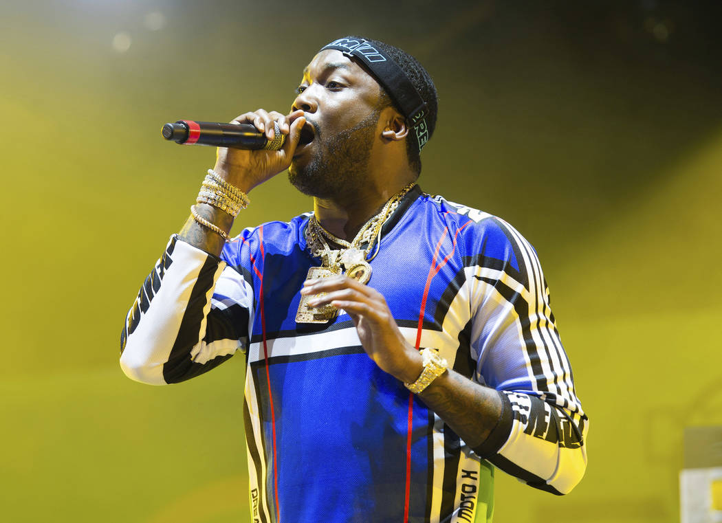 FILE - In this June 10, 2018 file photo, rapper Meek Mill performs at HOT 97 Summer Jam 2018 in East Rutherford, N.J. Pennsylvania's highest court won't remove a judge from Meek Mill's long-runnin ...