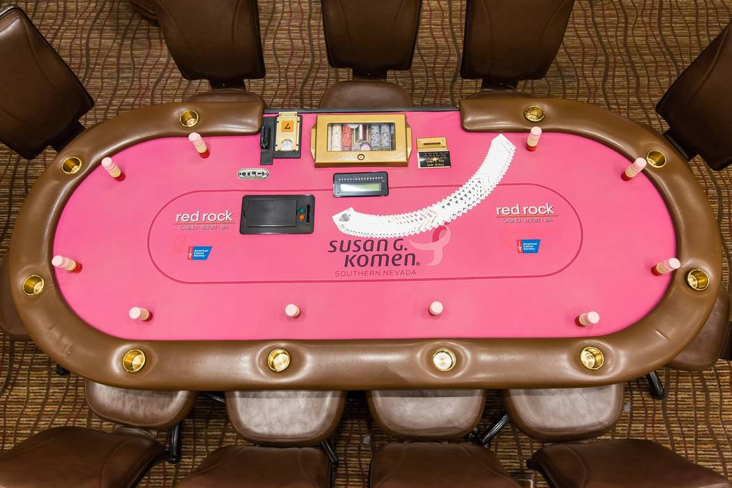 As part of Project Pink program, Station Casinos has designated pink poker tables that will donate a portion of the rake to Susan G. Komen of Nevada and the American Cancer Society's Making Stri ...