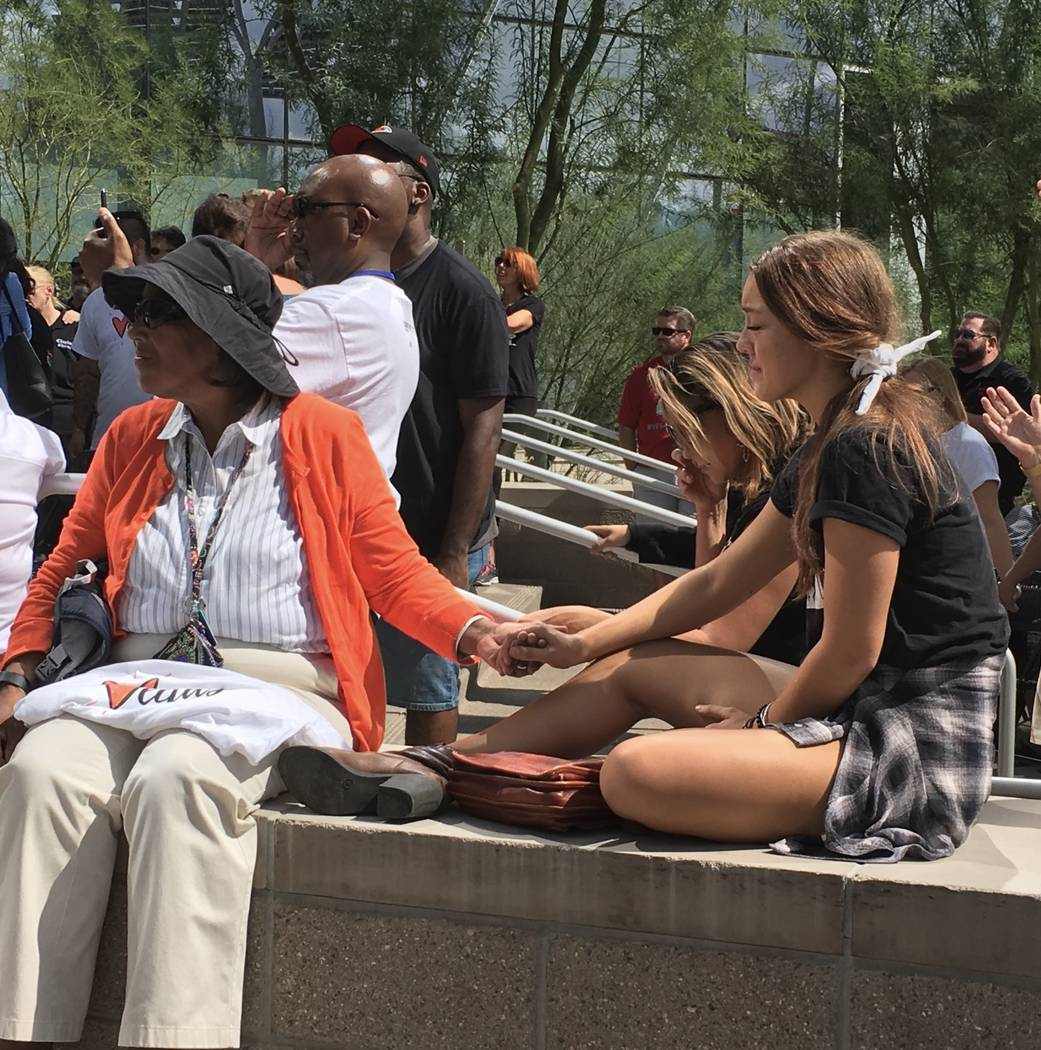 A prayer vigil at Las Vegas City Hall dedicated to the men and women killed by the Route 91 Harvest festival shooting a year ago. (Michael Scott Davidson/ Las Vegas Review-Journal)