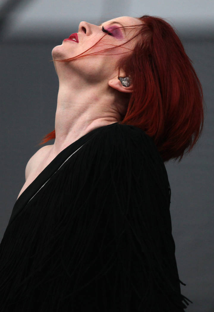 Scottish singer Shirley Manson from the band Garbage performs at the Vive Latino music festival in Mexico City, Sunday, March 15, 2015. (AP Photo/Marco Ugarte)