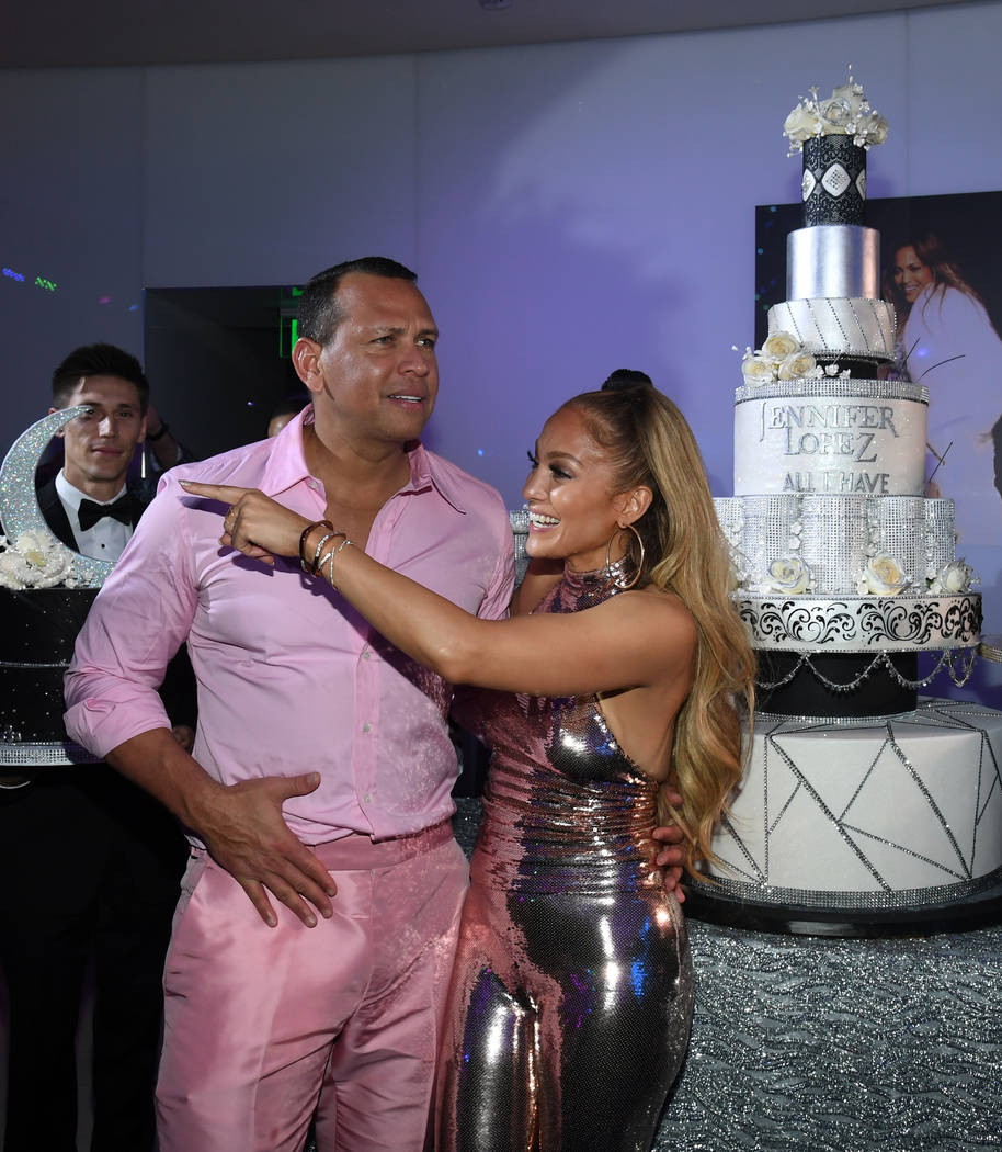 """Alex Rodriguez and Jennifer Lopez attend the after-party for the finale of the """"Jennifer Lopez: All I Have"""" residency at Mr. Chow at Caesars Palace in Las Vegas on Sept. 30, 2018. (Ethan Miller/G ..."""