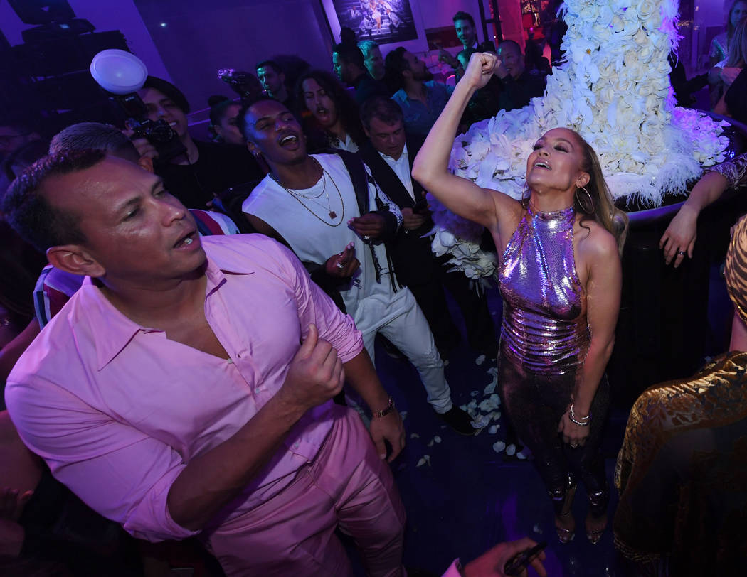 """Alex Rodriguez and Jennifer Lopez attend the after-party for the finale of the """"Jennifer Lopez: All I Have"""" residency at Mr. Chow at Caesars Palace in Las Vegas, Sept. 30, 2018. (Ethan Miller/Gett ..."""