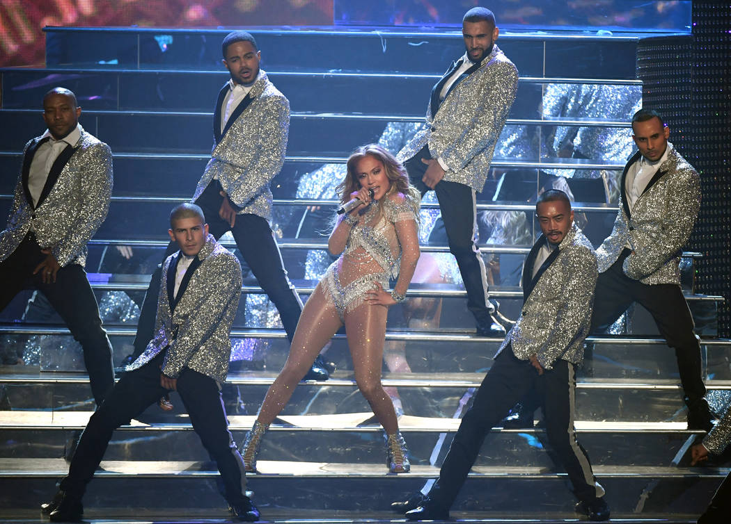 "LAS VEGAS, NV - SEPTEMBER 29: Jennifer Lopez performs during the finale of her residency, ""JENNIFER LOPEZ: ALL I HAVE"" at Zappos Theater at Planet Hollywood Resort & Casino on Septe ..."