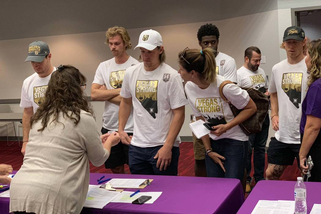 Members of the Vegas Golden Knights arrive to take part in the Vitalent blood drive at the Las Vegas Convention Center on the one-year anniversary of the Las Vegas shooting, Oc.t 1, 2018. (Mat Lus ...