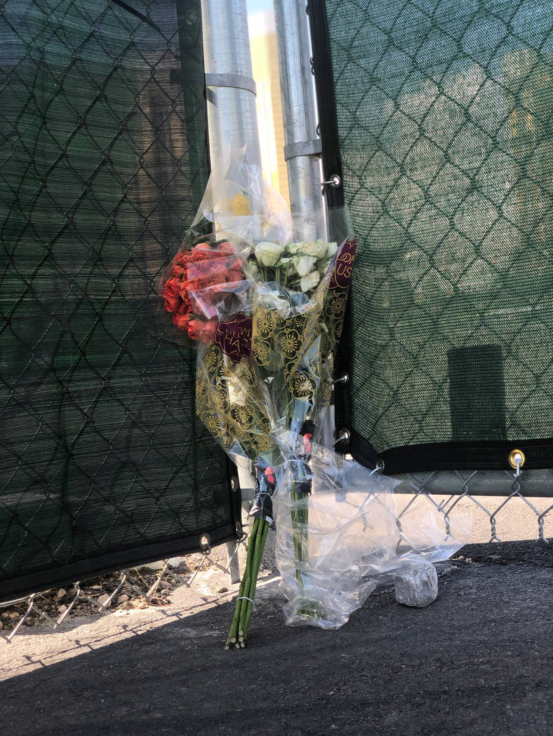 A rose is left at the East gate of Las Vegas Village on Monday, Oct. 1, 2018 in Las Vegas. Todd Prince/Las Vegas Review-Journal