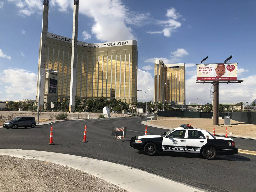 A police car blocks Giles Road behind the festival grounds on Monday, Oct. 1, 2018 in Las Vegas. Todd Prince/Las Vegas Review-Journal