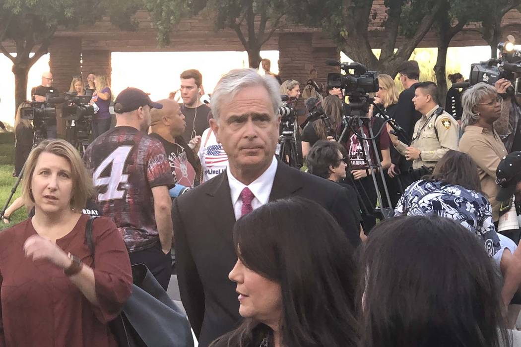 Chuck Bowling, Mandalay Bay president and chief operating officer, attends the sunrise remembrance for 1October at the Clark County Government Center Amphitheater in downtown Las Vegas, Monday, Oc ...