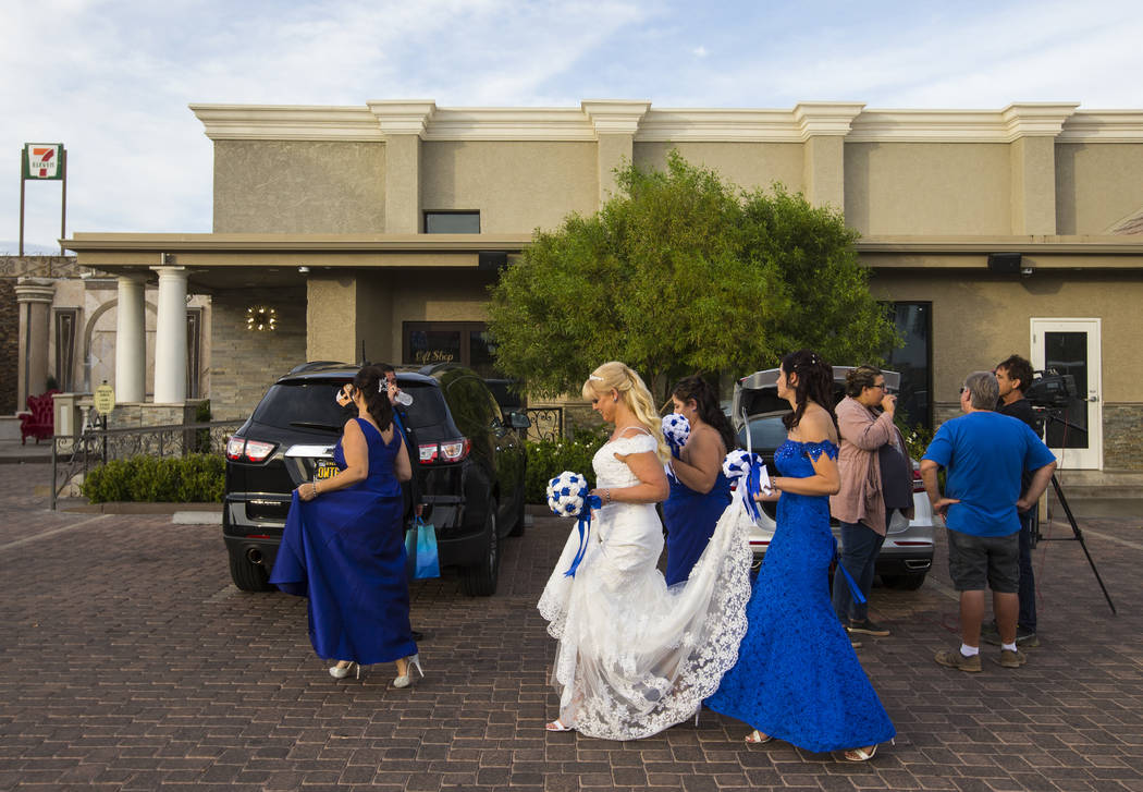 Oshia Wienke with bridesmaids after the wedding ceremony at Chapel of the Flowers in Las Vegas on Monday, Oct. 1, 2018. Todd was shot three times as he shielded Oshia soon after the shooting began ...
