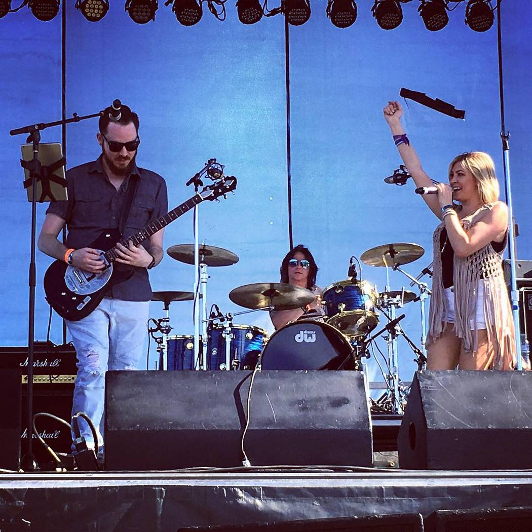 Jase Naron, Shon McKee and Krystal Goddard perform at the Route 91 Reunion at Centennial Hills Park on Saturday, Sept. 29, 2018. (Amy McCaslin)