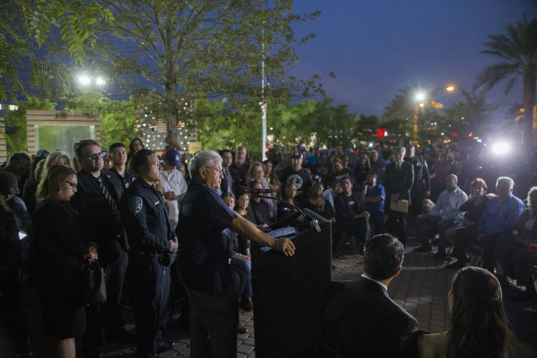 Las Vegas city councilman Bob Coffin speaks during the dedication of the new remembrance wall honoring victims of Oct 1 hosted by the City of Las Vegas in conjunction with Get Outdoors Nevada on M ...