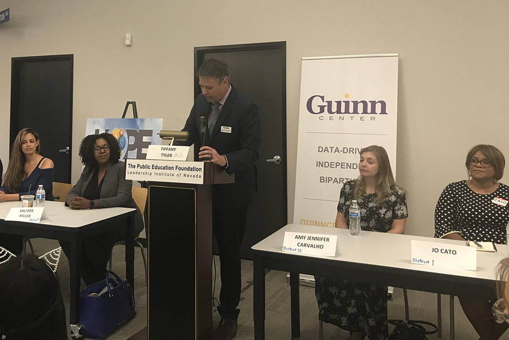 Education candidates for the Clark County School Board and Nevada Board of Regents talked funding and accountability at a forum at the Public Education Foundation in Las Vegas on Monday, Oct. 1, 2 ...