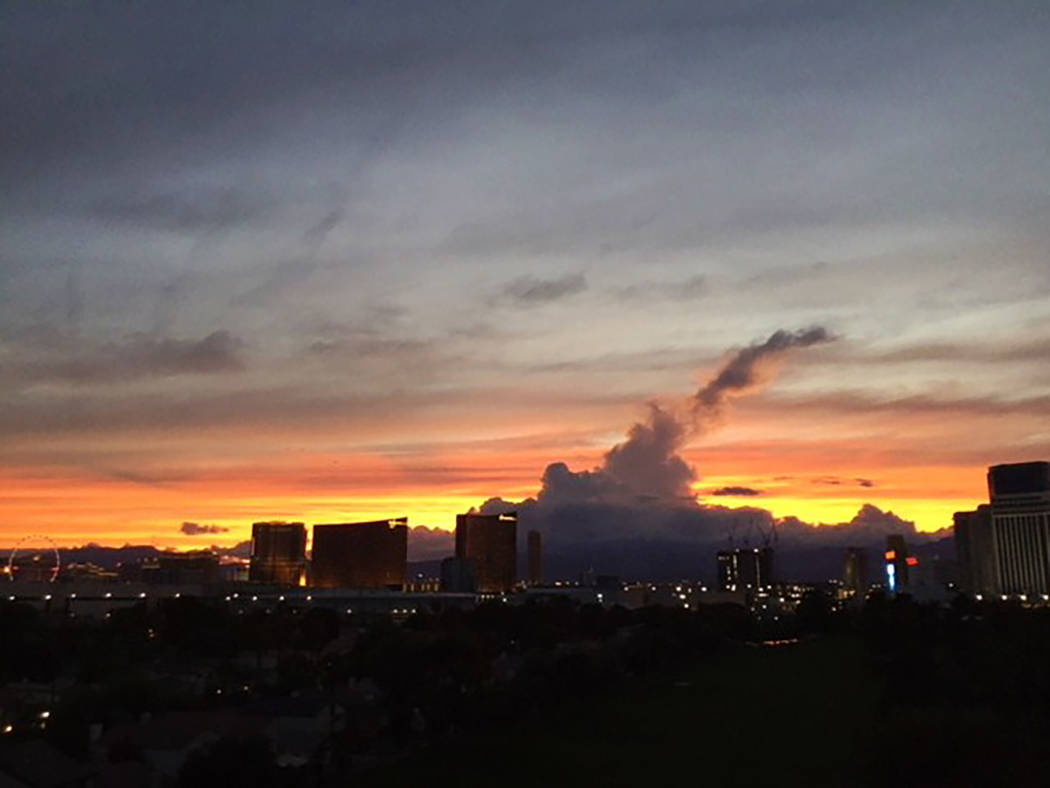 A cloud shadow is seen during sunset over the Las Vegas Strip on Oct. 1, 2018. (Bernie Rivait)