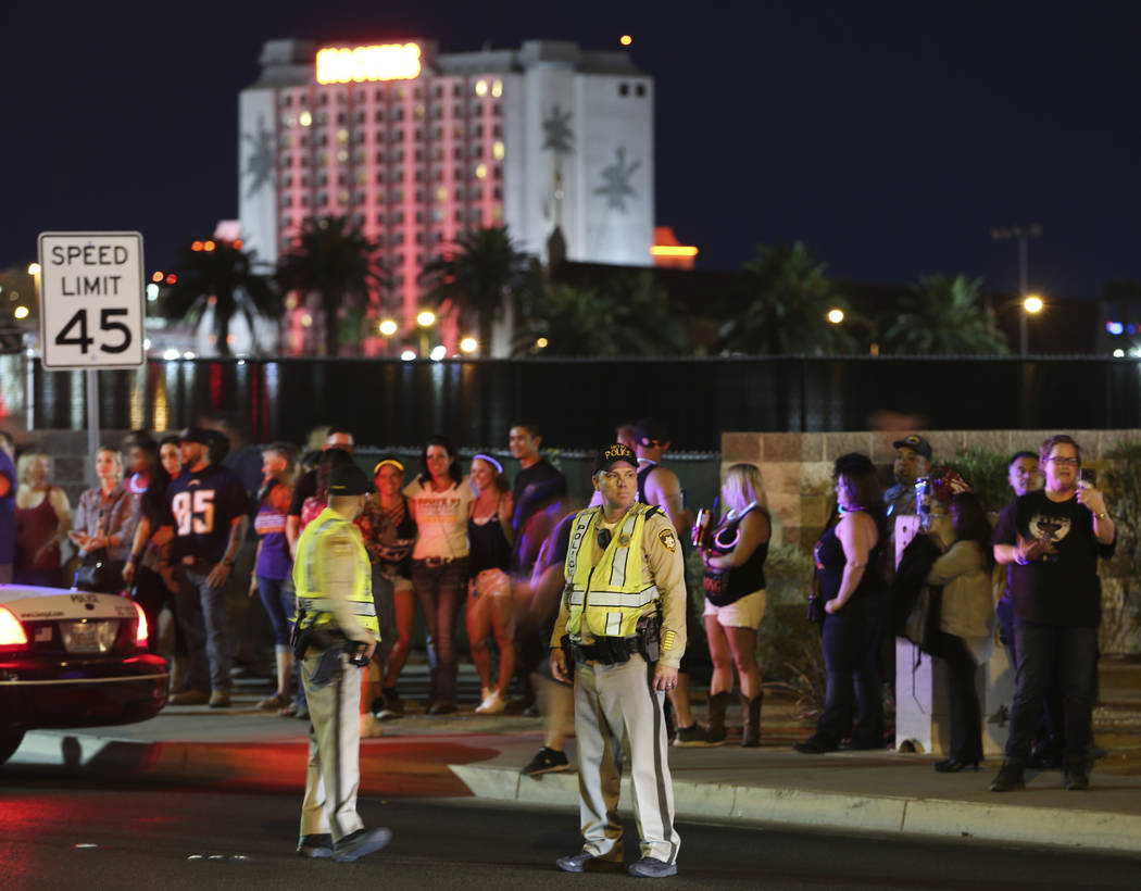 Crowds gather at Mandalay Bay hotel-casino on the anniversary of the One October shooting in Las Vegas, Monday, Oct. 1, 2018. Erik Verduzco/Las Vegas Review-Journal