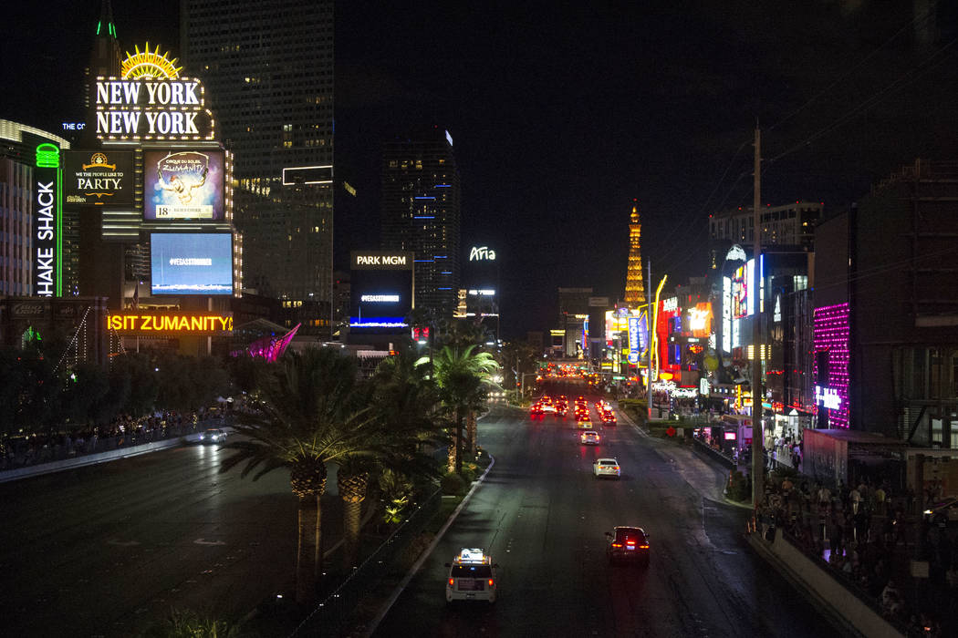 The marquees on the Las Vegas Strip turn black to commemorate the One October shooting in Las Vegas, Monday, Oct. 1, 2018. Caroline Brehman/Las Vegas Review-Journal