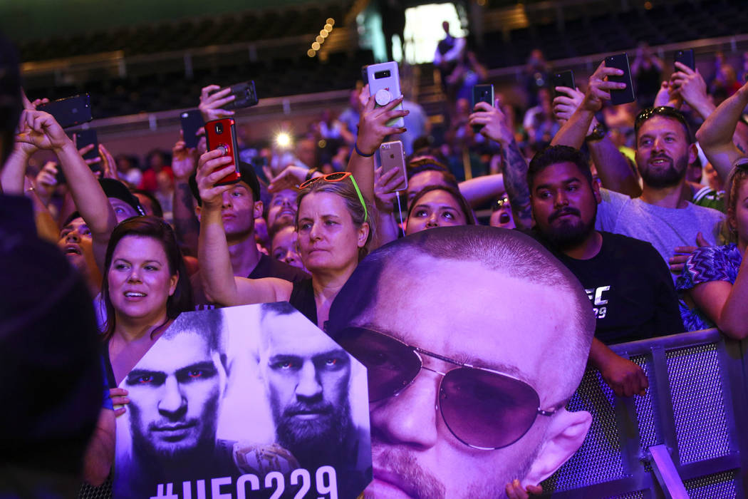 Conor McGregor fans cheer as works out ahead of UFC 229 at Park Theater at Park MGM in Las Vegas on Wednesday, Oct. 3, 2018. Chase Stevens Las Vegas Review-Journal @csstevensphoto
